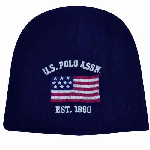 2c29d6a7a US Polo Assn Association Brand Flag Logo Cuffless Hat Navy Beanie Knit Toque