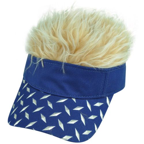new products 57335 f569d Diamond Plate Pattern Visor Faux Fur Flair Hair Beige Blue Adjustable Hat  Cap