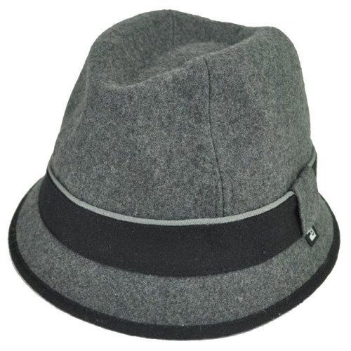 Block Headwear Brand Wool Plain Band Grey Fedora Stetson Dune Trilby Hat Large