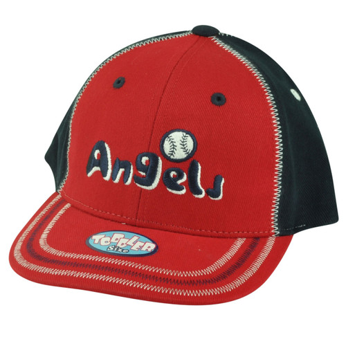 MLB Los Angeles Angels Toddler Boy Stitch Hat Cap Velcro Adjustable Two Tone Red