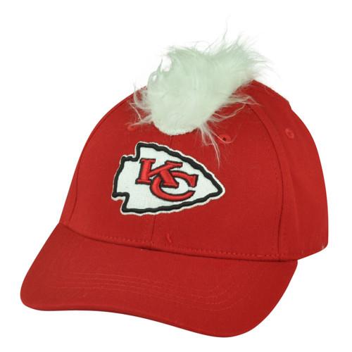 NFL Kansas City Chiefs Spike Faux Fur Mohawk Flex Fit Stretch One Size Hat Cap