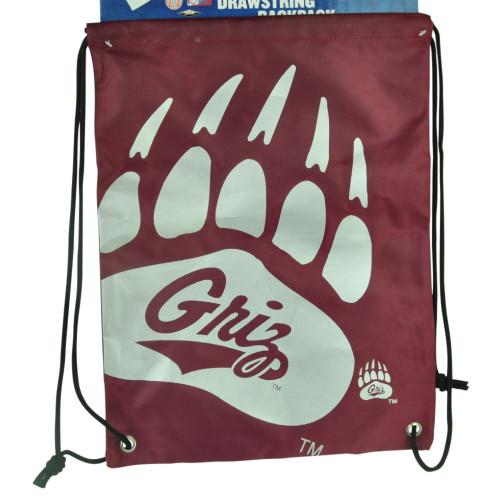 NCAA Montana Grizzlies Drawstring Back Pack Book Bag School Red Gym Travel Griz