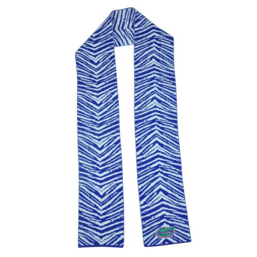 NCAA Florida Gators Long Scarf Winter Acrylic Zebra Stripe Blue White Game Day