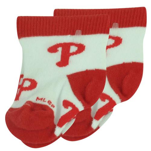 MLB Philadelphia Phillies Set of 2 Infant Baby Socks 0-12 Months All Over Logo