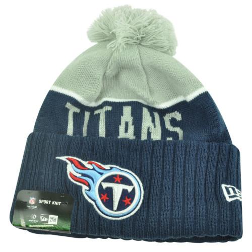 NFL New Era Tennessee Titans Sport Knit Beanie Pom Pom Cuffed Hat Winter Toque