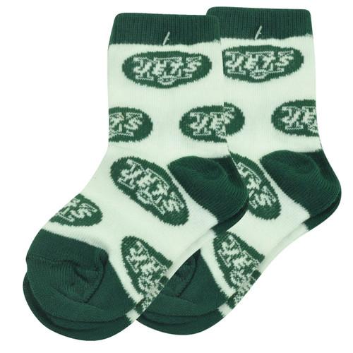 NFL New York Jets Set of 2 Toddler 9 - 24 Socks Boys All Over Logo Fan White