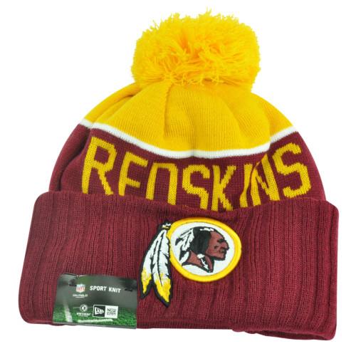 NFL New Era Washington Redskins Sport Knit Beanie Pom Pom Cuffed Hat Winter