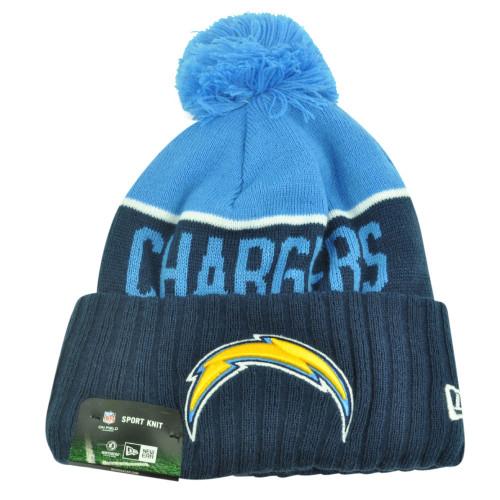 NFL New Era San Diego Chargers Sport Knit Beanie Pom Pom Cuffed Hat Winter Toque