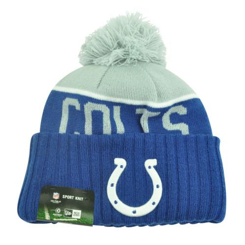 NFL New Era Indianapolis Colts Sport Knit Beanie Pom Pom Cuffed Hat Winter Toque