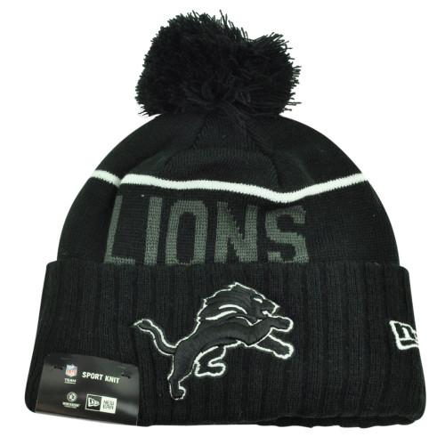 NFL New Era Black White Sport Knit Beanie Cuffed Pom Pom Detroit Lions Toque Hat