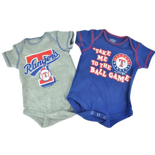 MLB Texas Rangers Boris Infant Baby 2 Piece Creeper Bodysuit Ball Game