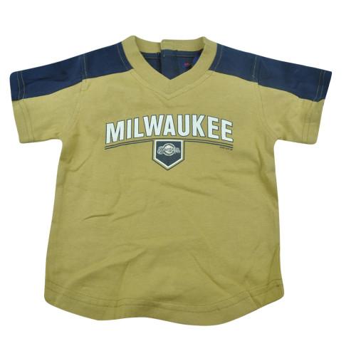 MLB Milwaukee Brewers Infant Baby Tshirt Tee Baseball Shirt Khaki Boys