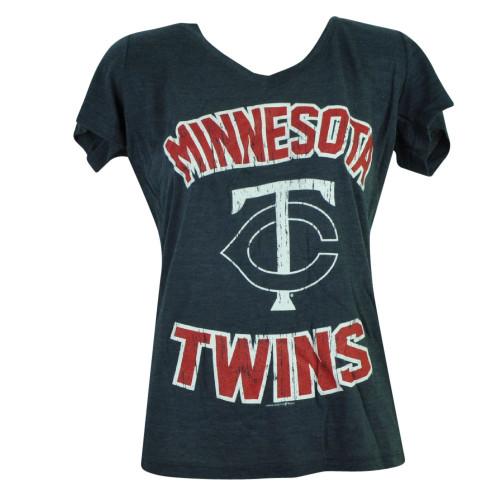 MLB Minnesota Twins Sue Missy Womens Fitted Ladies Navy Blue Tshirt Tee Ladies