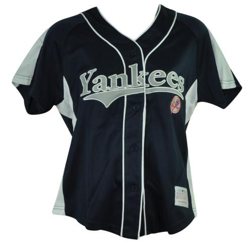MLB New York Yankees Eleanor Junior Womens Jersey Ladies Button Up Navy