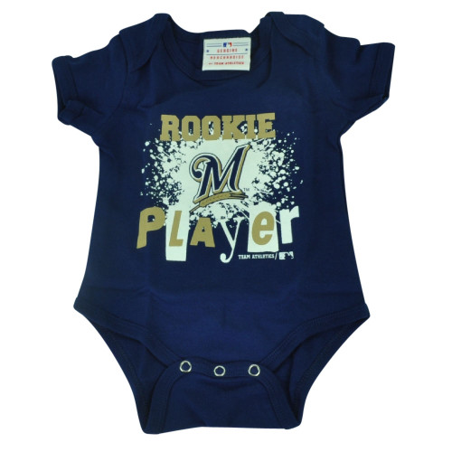 MLB Milwaukee Brewers Wild Horse Infant Bodysuit Creeper Navy Blue Baby Rookie