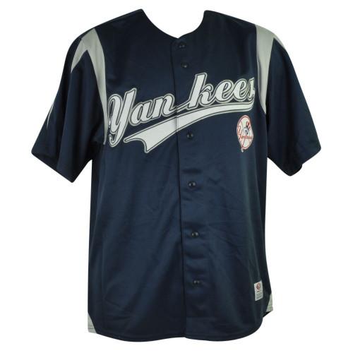 MLB New York Yankees NY Cadel Jersey Button Up Navy Blue Mens Baseball