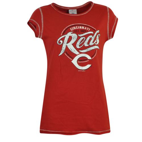 MLB Cincinnati Reds Emma Tem Junior Fitted Tshirt Distressed Tee Short Sleeve