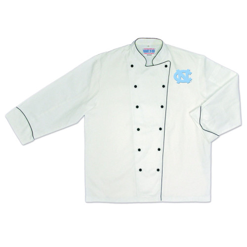 NCAA North Carolina Tar Heels Premium Chef Coat Professional Style White