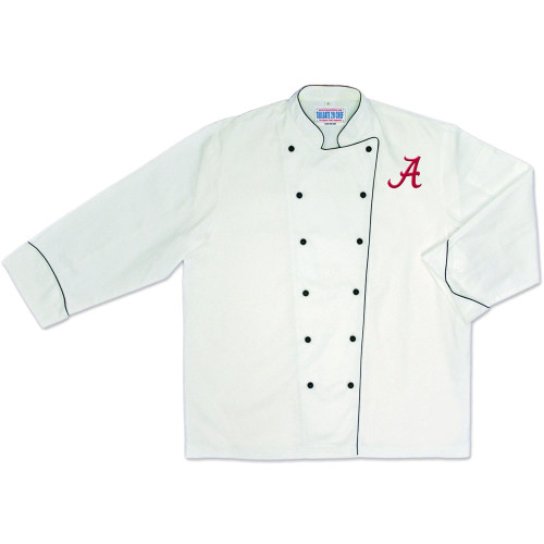 NCAA Alabama Crimson Roll Tide Premium Chef Coat Professional Style White
