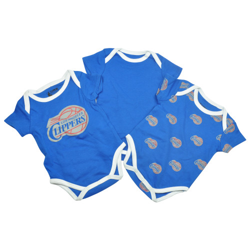 NBA UNK Los Angeles Clippers Baby Infant 3 Piece Creeper Set Bodysuit