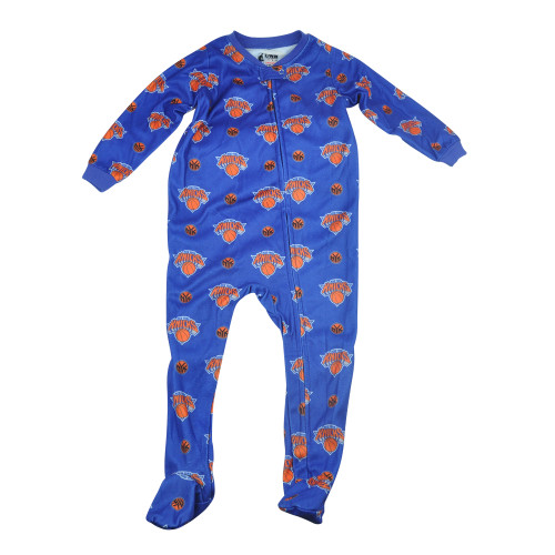 NBA UNK New York Knicks NY Toddler Footed Pajamas Bodysuit Zipper Sleep Wear