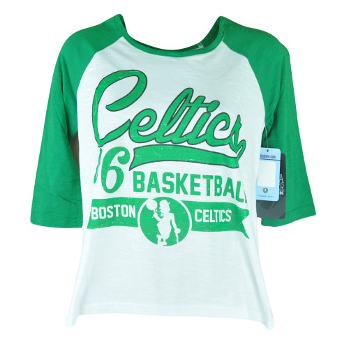 NBA UNK Boston Celtics Women Ladies Baseline Three Quarter Sleeve Tshirt