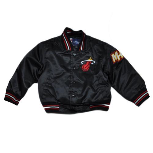NBA Miami Heat JH Design Toddler Kids Satin Jacket Black Snap Button Winter