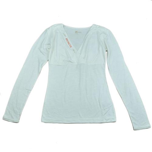 NFL Denver Broncos The Blitz Women Ladies V-Cut Long Sleeve Glitter Shirt