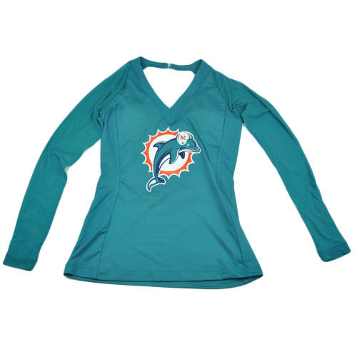 NFL Miami Dolphins Wildkat Mesh Jersey Women Ladies Long Sleeve Shirt