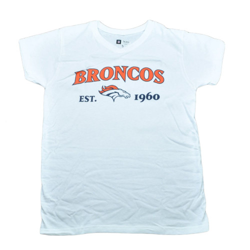 NFL Denver Broncos Commissioner Women Ladies Football White Tshirt Tee