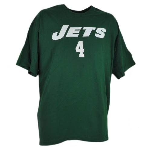 NFL New York Jets Brett Favre Tshirt Tee 4 Reebok Rbk Green Mens Cotton Shirt