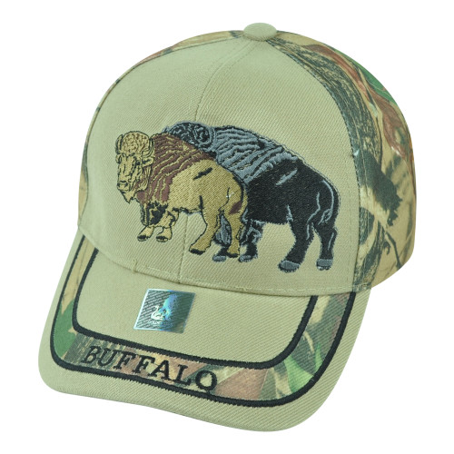 Buffalo Wild Animal Camouflage Camo Two Tone Outdoors Velcro Hat Cap Camping