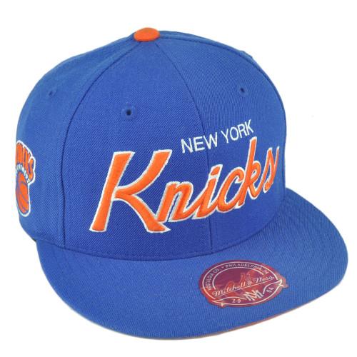 5ea3fbdf2d2 NBA Mitchell Ness G023 New York Knicks Fitted Flat Bill Script Hat Cap