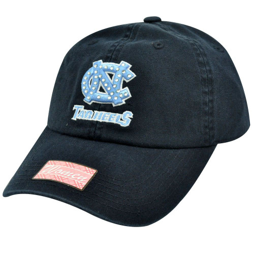 NCAA North Carolina Tar Heels Navy Light Blue Rhinestones Womens Ladies Hat Cap