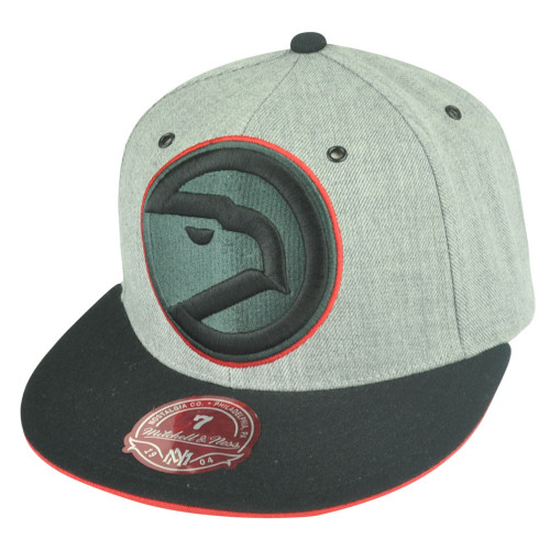 NBA Mitchell Ness Atlanta Hawks TV28 XL Logo Heather Fitted Hat Cap