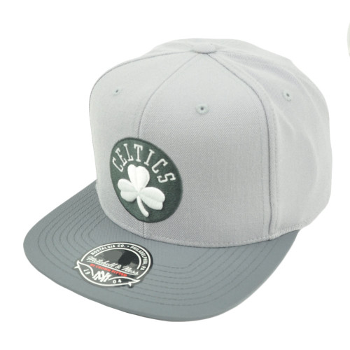 NBA Mitchell Ness G327 Grey Mega Boston Celtics Fitted Flat Bill Hat Cap HWC