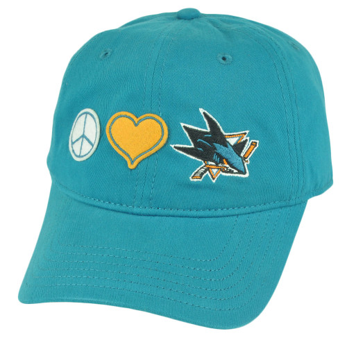 NHL San Jose Sharks Fillmore Womens Sun Buckle Peace Love Hat Cap Relaxed Ladies