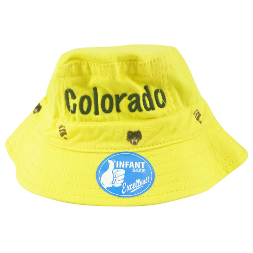 Colorado Vacation Infant Size Sun Crusher Bucket Yellow Hat Camping Outdoors