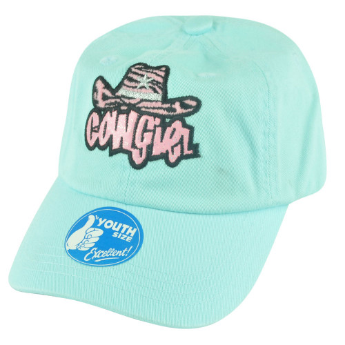 Cowgirl Las Vegas Youth Blue Velcro Slouch Relaxed Garment Wash Hat Cap Girl