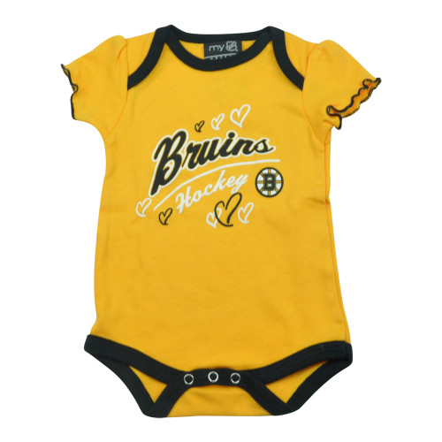 NHL Boston Bruins Owl Creek Infant Baby Girls Bodysuit Yellow Creeper