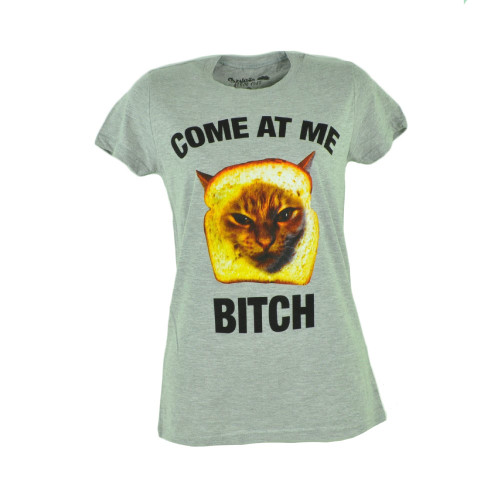 Come At Me Bitch Cat Kitten Graphic Women Ladies Grey Funny Tshirt Tee Medium