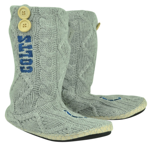 NFL Indianapolis Colts Button Cable Knit Boots Crochet Womens Ladies Grey