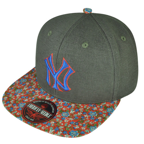 MLB American Needle New York Yankees Gray Clip Buckle Hat Cap Floral Pattern