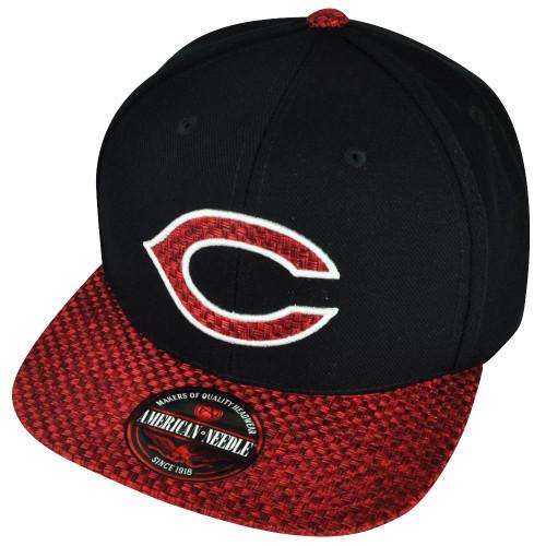 MLB American Needle Cincinnati Reds Hatch Woven Clip Buckle Hat Cap Black Red