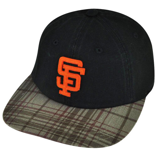 MLB American Needle San Francisco Giants Leather Belt Buckle Plaid Black Hat Cap