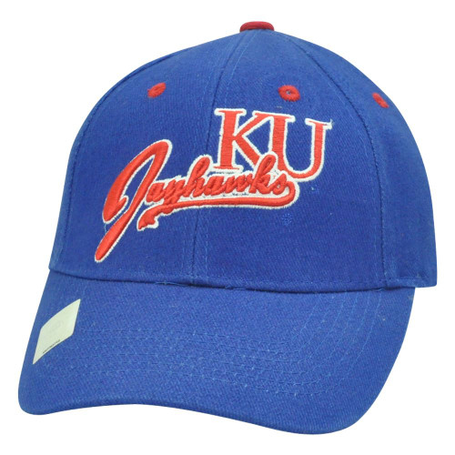 d952bf11291e5 NCAA KU Kansas Jayhawks Curved Script Constructed Adjustable Velcro Blue Hat  Cap