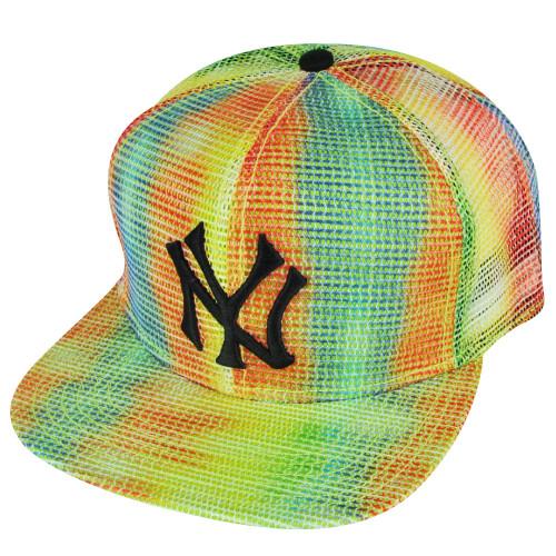 MLB American Needle New York Yankees Rainbow Mesh Flat Bill Snapback Hat Cap