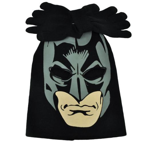 Batman Face Print Mask Youth Knit & Gloves Set Beanie Dark Knight Super Hero