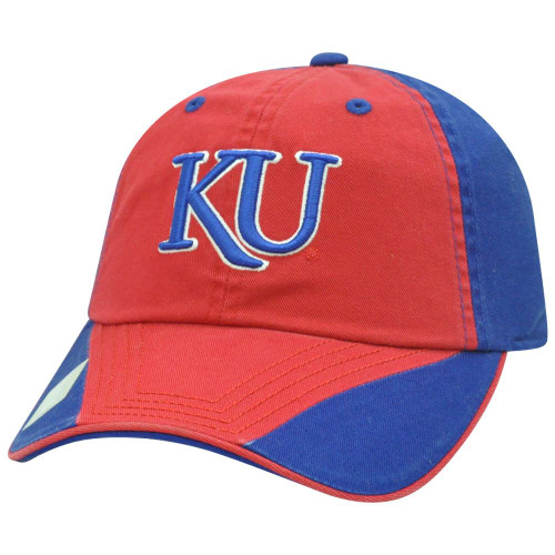 timeless design df4f5 2c6cb NCAA Garment Washed Flip Red Relaxed Kansas Jayhawks Sun Buckle Two Tone Hat  Cap