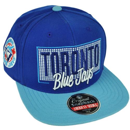 MLB American Needle Toronto Blue Jays Snapback Flat Bill Blue Hat Cap Sport